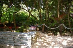 Sandbags and Do Not Enter sign at Cayo Levantado.jpg