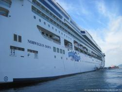 View of cruise ship Norwegian Dawn from tender boat leaving for Cayo Levantado.jpg